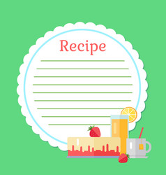 empty cookbook with strawberry cake drink vector image