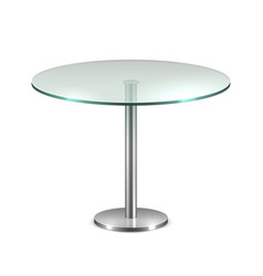 empty glass round office table with metal stand vector image