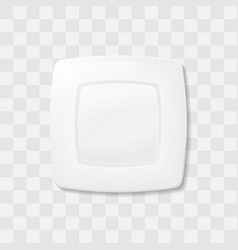 empty white square plate top view dish realistic vector image