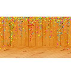 Falling color confetti in wooden room vector