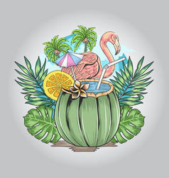 flamingo summer with nature leaf and coconut artwo vector image