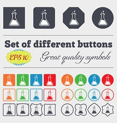 Flask icon sign Big set of colorful diverse vector