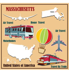 Flat map of Massachusetts vector