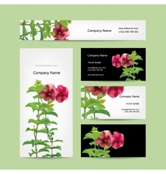 Floral business card design vector