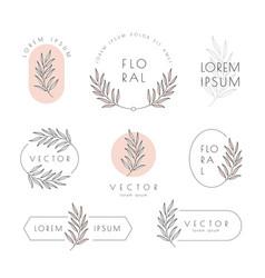 floral logo and emblem set with leaf vector image
