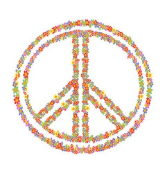 floral peace symbol vector image