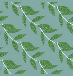 Floral seamless pattern with green branches on vector