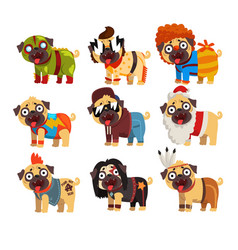 Funny pug dog character in colorful funny costumes vector