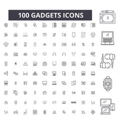 gadgets editable line icons 100 set vector image