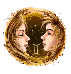 gemini is a sign zodiac vector image