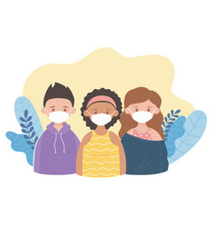girls and boy with medical mask prevention vector image