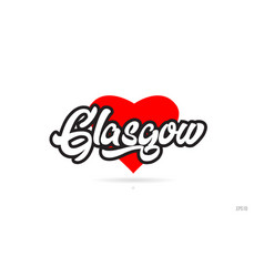 Glasgow city design typography with red heart vector