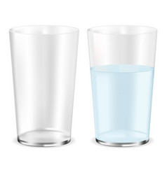 Glass of water empty and full vector