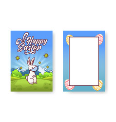 greetings card for easter with a bunny wearing vector image