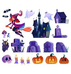 halloween elements castle and graves pumpkins vector image
