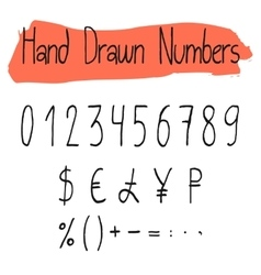 Handwritten simple numerals set vector image
