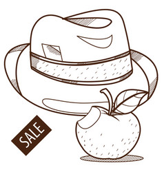 hat and apple vintage things outline drawing vector image