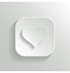 Heart icon - white app button vector image