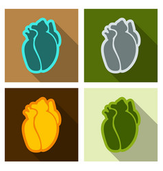 Human heart flat style simple of human internal vector