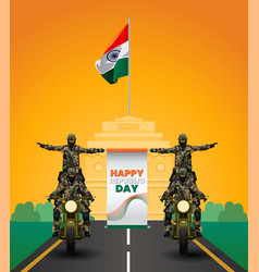 Indian army with flag for happy republic day vector