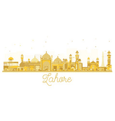 Lahore pakistan city skyline golden silhouette vector