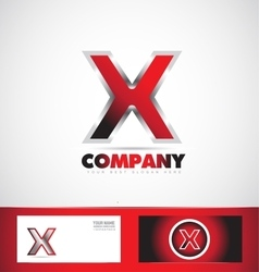 Letter X red logo metal games vector