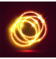 Light illuminated fire rings background vector image