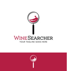 Logo for online wine search magnifying wine glass vector