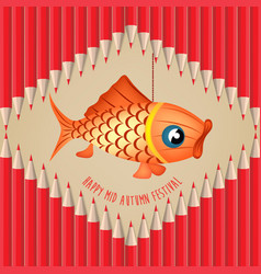 Mid autumn lantern festival pencils background vector