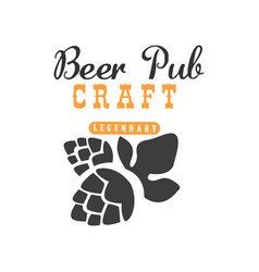 Minimalistic logo with hop for pub cafe or vector