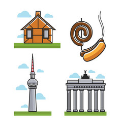 Monuments and hot dogs vector