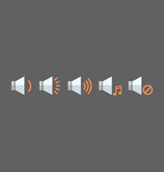 Music player volume icon set audio listening app vector