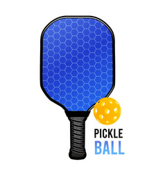 Pickleball with a ball and a racket for playing vector