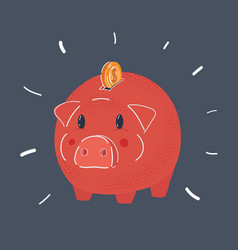 piggy bank with coin money vector image
