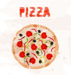 Pizza with tomatoes colorful spots vector