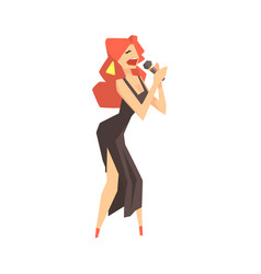 Pop art young woman singer character singing with vector