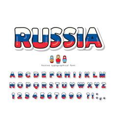 russia cartoon font russian national flag colors vector image