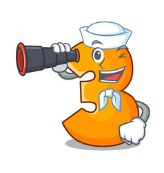 Sailor with binocular cartoon number three on vector