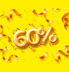 Sale 60 off ballon number on yellow background vector