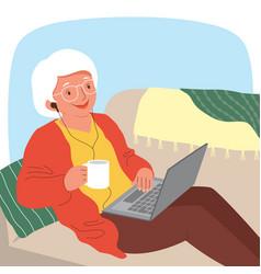 Senior woman with a laptop vector