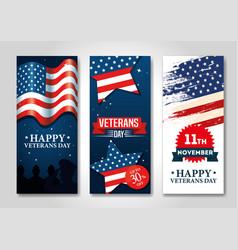 Set poster veterans day celebration vector