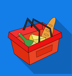 Shopping basket full of groceries icon in flate vector