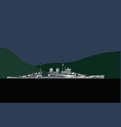 silhouette an old warship vector image