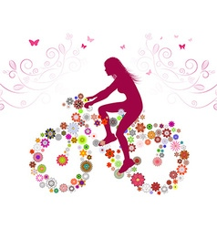 Silhouette of a Lady on a Bike vector