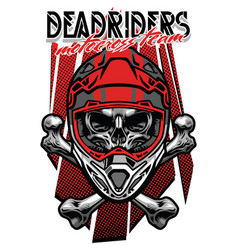 Skull morocross rider with crossed bones vector
