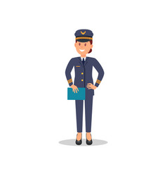 smiling woman pilot with blue folder in hand vector image