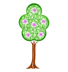 Spring green tree with blossom flowers vector image