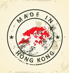 Stamp with map flag of Hong Kong vector image