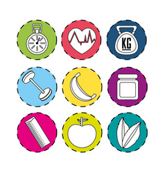 sticker healthy lifestyle icons design vector image