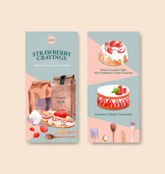 Strawberry baking flyer template design vector